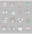 charity icon set in flat hand drawn cartoon style vector image vector image