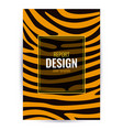 design brown poster with tiger skin texture vector image vector image