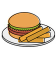 dish with french fries and burger vector image vector image