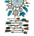 dream catcher with arrows in boho style vector image