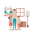 father and children in livingroom avatar character vector image vector image