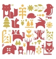 Forest Plants And Animals Set vector image vector image