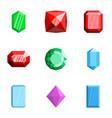 gemstone icons set flat style vector image