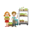 Girls And Boy With Gardening Inventory vector image vector image