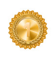 gold medal gold sign of the 1st place isolated vector image