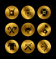 gold vintage warrior medieval icons with lights vector image vector image