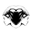 hand drawn female heads vector image vector image