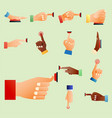 hand press red button finger press control push vector image vector image