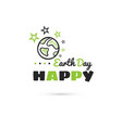 happy earth day planet with stars vector image vector image