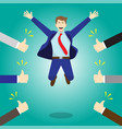 happy jumping businessman getting thumbs up from vector image vector image