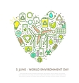 Heart shape element made from eco icons and signs vector image vector image