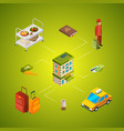 isometric hotel icons infographic concept vector image vector image