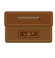 leather brown purse with zipper and stitching vector image vector image