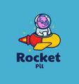 logo rocket mascot cartoon style vector image