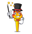 magician torch mascot cartoon style vector image vector image