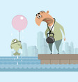 man and fish suicide vector image