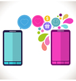 Mobile phone with icons Colorful Concept of vector image