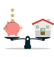 piggy bank and house on weighing machine vector image vector image