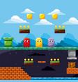 pixel game scene ghosts ground level treasure vector image