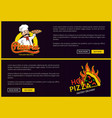 pizzeria online delivery service promo pages set vector image vector image