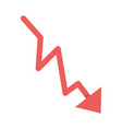 red arrow downward financial crisis isolated icon vector image