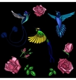 rose and bird embroidery vector image