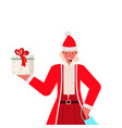 santa woman with mask holding gift box new year vector image vector image