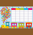 school timetable with cartoon train vector image vector image