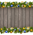 Seamless Christmas Old Board with Golden Beads vector image