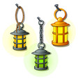 set of antique lanterns on chains and rings vector image