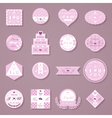 set wedding decorative stickers vector image