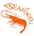 shrimp cartoon with text for seafood concept vector image