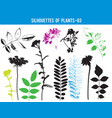 silhouettes parts plants leaves flowers vector image