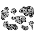 Silver tribal tracery set vector image vector image