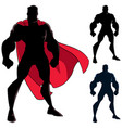 superhero standing tall silhouette vector image vector image
