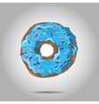 Sweet donut with blue glaze and many vector image vector image