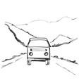 travel bus hand drawn road near vector image vector image