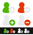 user icons add remove user icons vector image vector image