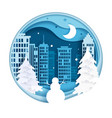 winter night city scenery paper cut vector image