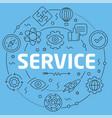 blue line flat circle service vector image