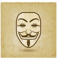 anonymous mask on grunge background vector image