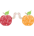 apples and funny worms vector image
