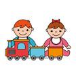 baby boy girl train kid toys vector image