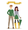 Beautiful cartoon couple fashion clothes vector image vector image