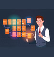 businessman with laptop over site map suitable for vector image