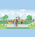 casual young people in summer park romantic vector image vector image