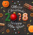 christmas background with text and spices vector image vector image