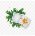 christmas greeting card with gift box place vector image