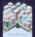christmas winter city background vector image vector image