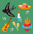 colorful symbols dia de los muertos holiday day of vector image